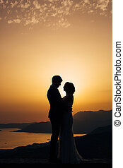 Silhouette of the newlyweds against the sky at sunset