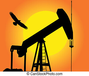 the oil pump - Silhouette of the oil pump against the sun ...