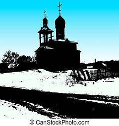 Silhouette of the old church. Vector illustration