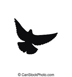 Silhouette of the one black pigeon or dove
