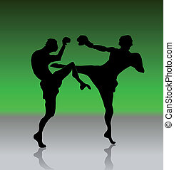 Silhouette of the persons in style karate. Vector