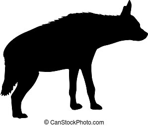 Silhouette of the potted hyena on a white background.