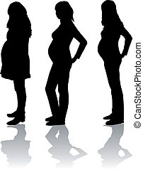 Silhouette of the pregnant woman