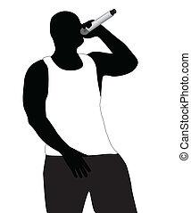 Silhouette of the rapper in a vest