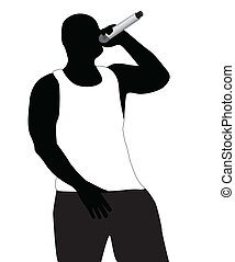 Silhouette of the rapper in a vest on a white background