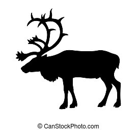silhouette of the reindeer on white background