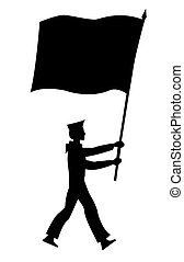 silhouette of the sailor with flag on white background