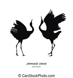 Silhouette of the two dancing Japanese crane on a white background