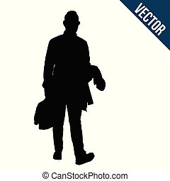 Silhouette of the walking man with a bag