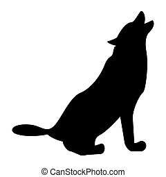 Silhouette of the wolf black color icon .
