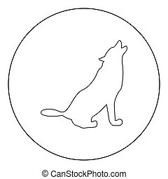 Silhouette of the wolf black icon in circle vector illustration isolated .