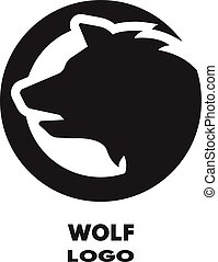 Silhouette of the wolf, monochrome logo.