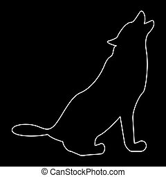 Silhouette of the wolf white color path icon .