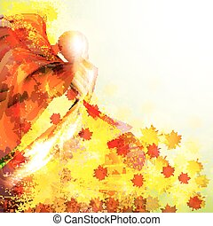 Silhouette of the woman dancing in the autumn leaves. Autumn vector background.