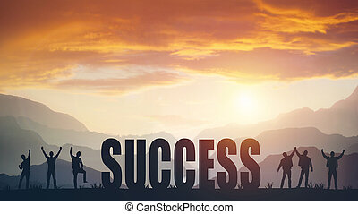 Silhouette of the word SUCCESS against the sunset