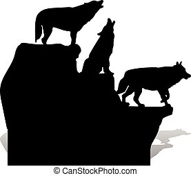 Silhouette of three black wolves howling, on top of a cliff, cartoon on a white background,