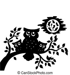 Silhouette of three owls on branch - vector illustration.