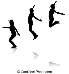 Silhouette of three young girls jumping with hands up, motion