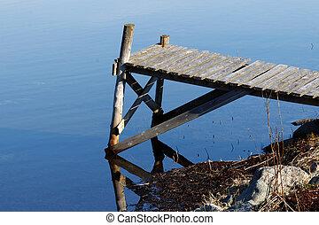 Silhouette of tiny bridge