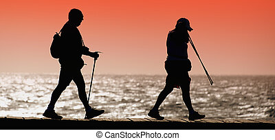Silhouette of tourists walking along the shore at sunset
