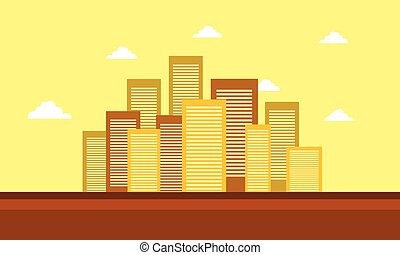 Silhouette of town landscape with yellow backgrounds
