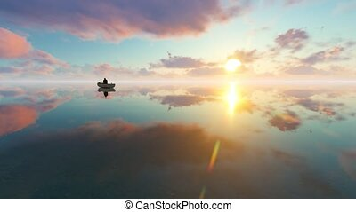 Silhouette of traditional fishermen on boat the lake at...