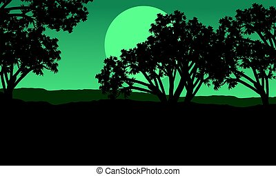 Silhouette of tree at night landscape