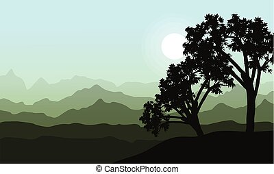 Silhouette of tree beauy landscape