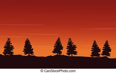 Silhouette of tree lined scenery