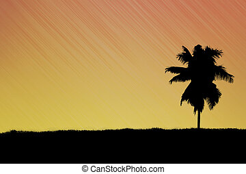 Silhouette of tree on abstract background