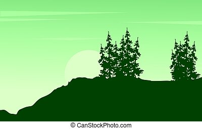 Silhouette of tree on the cliff scenery