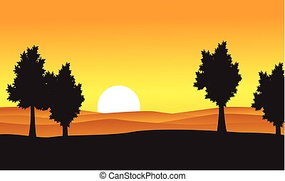 Silhouette of tree on the hill at the sunset