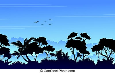 Silhouette of tree on the rain forest scenery