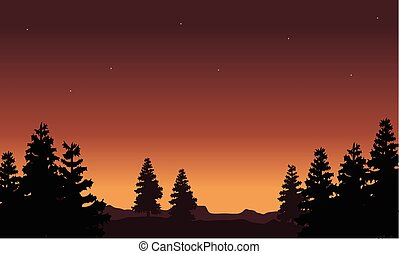 Silhouette of tree scenery collection