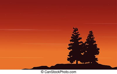 Silhouette of tree style landscape
