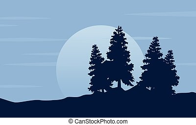 Silhouette of tree with moon scenery