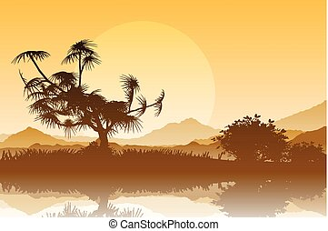 Silhouette of trees against a sunset sky