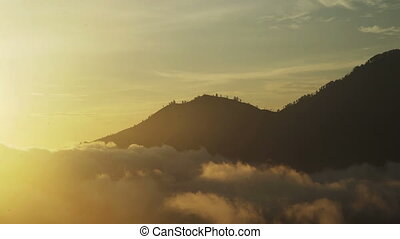 Silhouette of trees on top mountain, golden sunrise on...