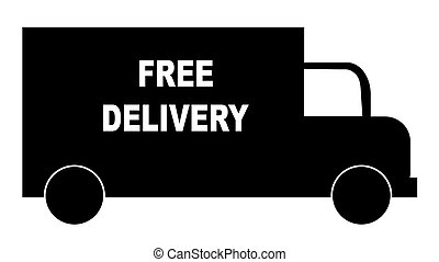 silhouette of truck with words - free delivery