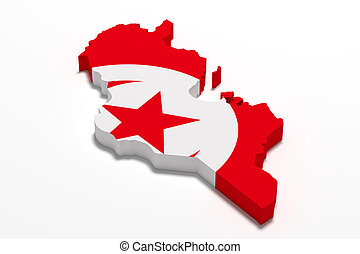 Silhouette of Tunisia map with flag