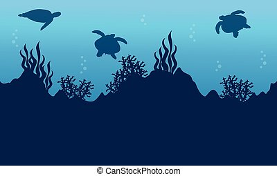 Silhouette of turtle and beauty reef landscape