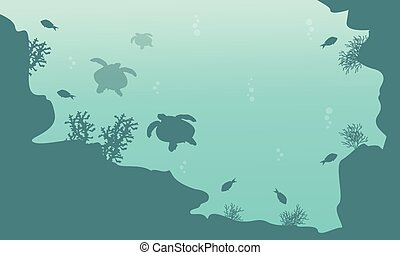 Silhouette of turtle and fish landscape underwater