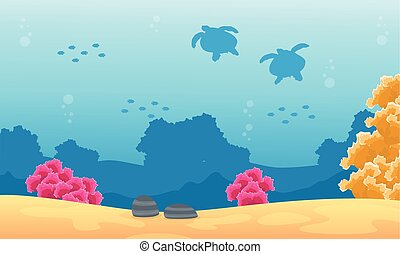 Silhouette of turtle and fish landscape