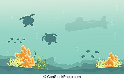 Silhouette of turtle and submarine landscape
