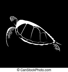 silhouette of turtle isolated on black background vector illustration