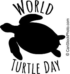 Silhouette of turtle - sign, world turtle day