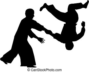 Silhouette of two aikido fighters