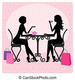 Silhouette of two beautiful girls