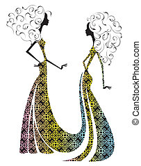 Silhouette of two beautiful girls