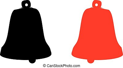 Silhouette of two bells, red and black, on a white background.